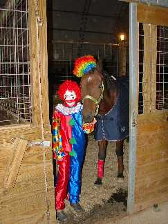 Two clowns at the barn